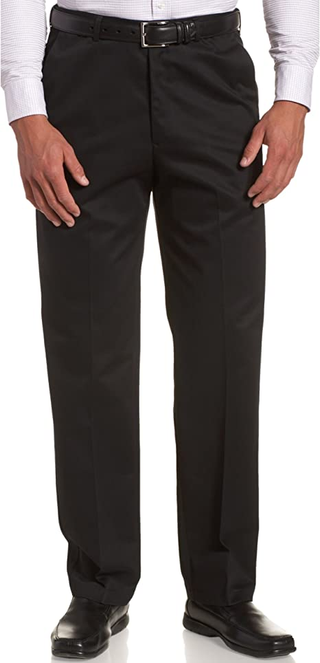 Haggar Mens Work To Weekend Hidden Expandable Waist No Iron Plain Front Pant