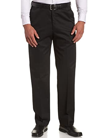 Haggar Mens Work to Weekend Flat Front Khaki, Black, 29-32