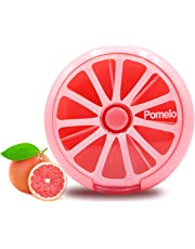 LazyMe Small Cute Pill Box Purse 7 Slots Decorative Round Case, Lockable 1 Time a Day Weekly