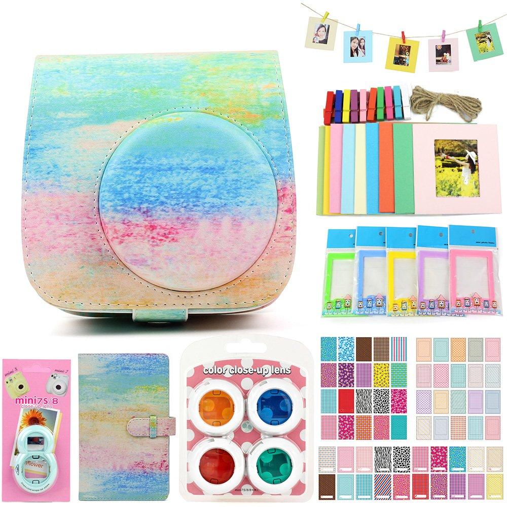 QUEEN3C Instax Mini 9 Case Accessories Kit Bundle for Fujifilm Instax Mini 9 or 8/8+,Include: Camera Case/Album/Color Filters/Selfie Lens/Photo Decor Stickers & More.(Watercolor) by QUEEN3C