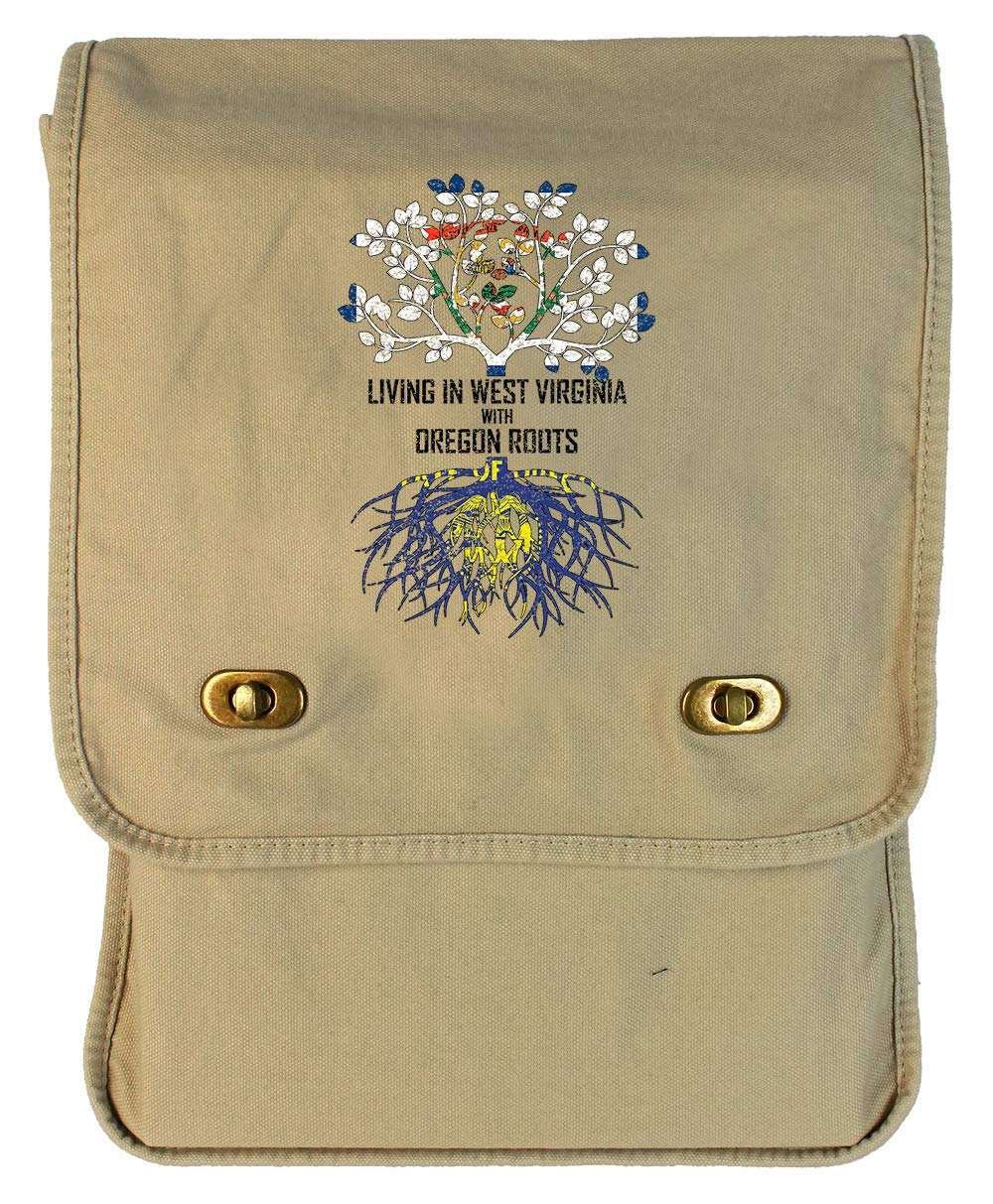 Tenacitee Living In West Virginia with Oregon Roots Grey Brushed Canvas Messenger Bag