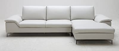 Grey Cigale Leather Sectional Sofa - Right Chaise