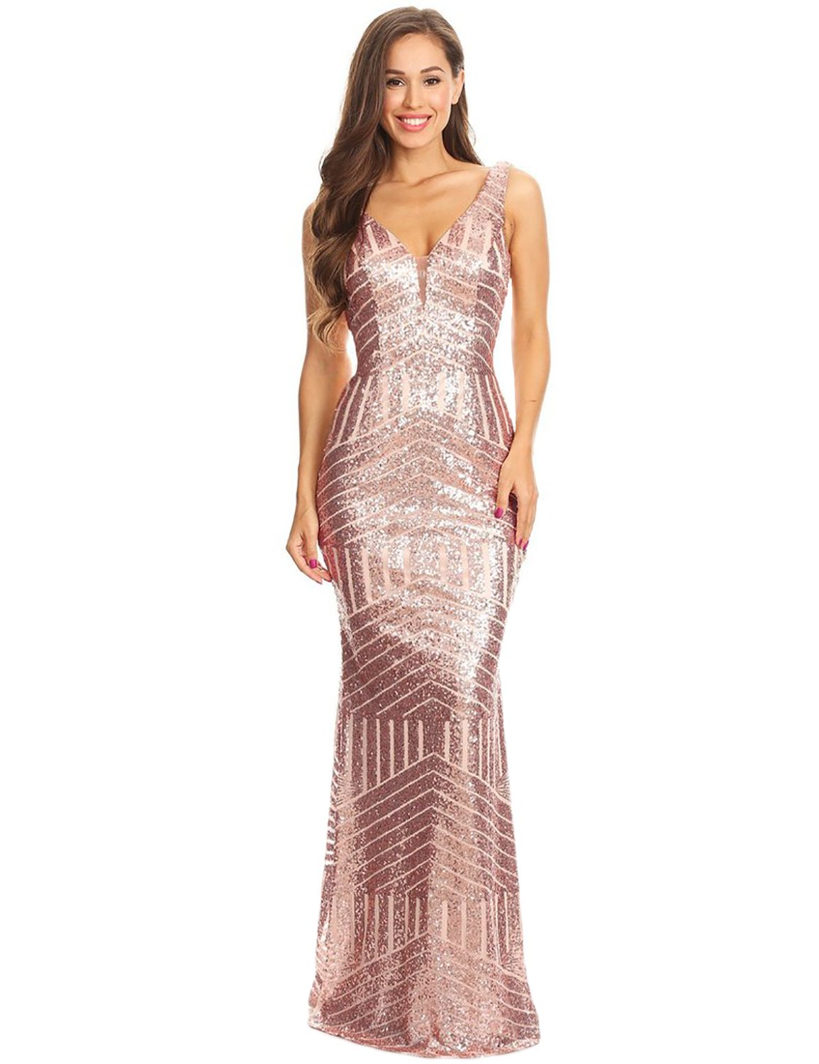 e4673185a42 Oufeisha Women s Long Mermaid Sequined Prom Dresses 2019 V Neck Evening  Formal Gowns Rose Gold US6