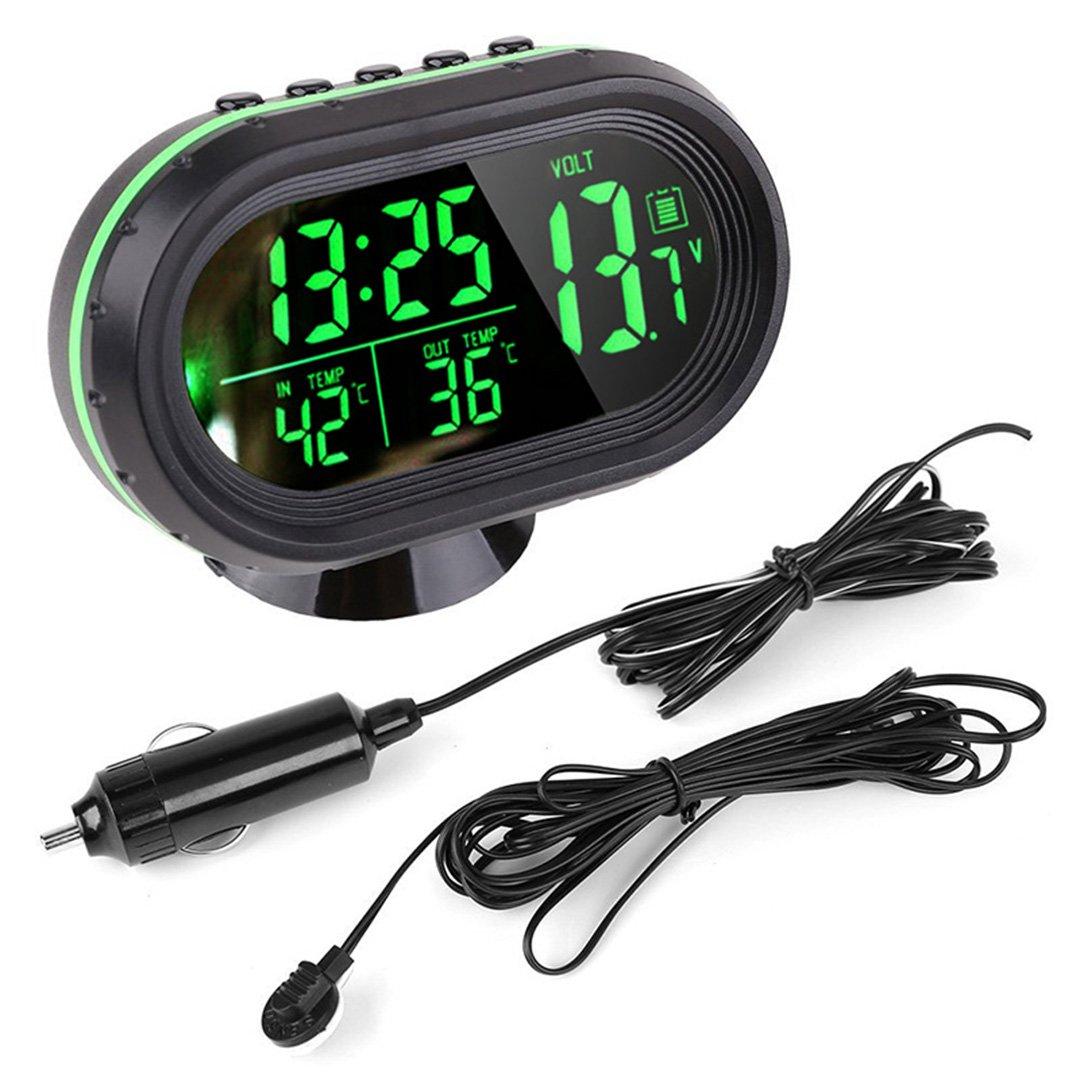 Auto Uhr Thermometer Temperatur Messgerä t Spannung digitale LED beleuchtete DC 12V ~ 24V von Enshey