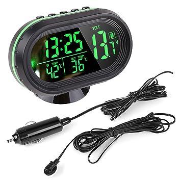 ENSHEY Reloj automático con termómetro para coche de luz LED digital CC 12V ~ 24V