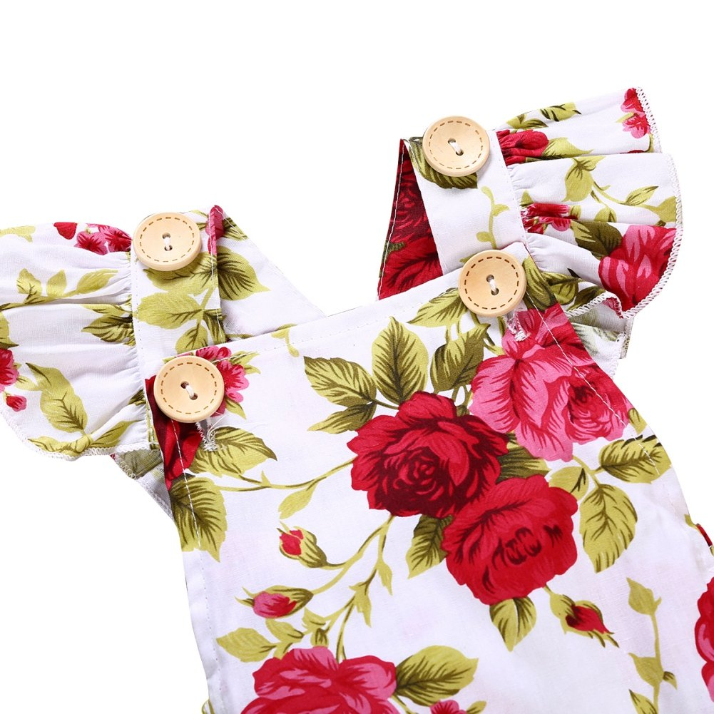 Shiningup Newborn Toddler Girl Romper Baby Summer Red Flower Printed Ruffle Sleeve Outfit for 0-24 Months