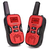 Walkie Talkies for Kids, 2 Way Radio Walkie Talkies 2 Miles (Up to 3Miles) Handheld Mini Walkie Talkies for Kids, Toys for 5-year old Boys and Girls (1 Pair)(red)
