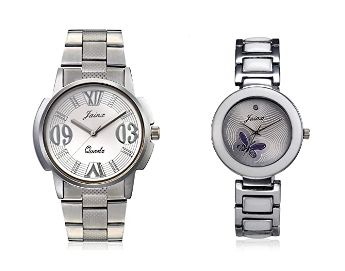Silver, Grey Dial Analogue Couple Watch