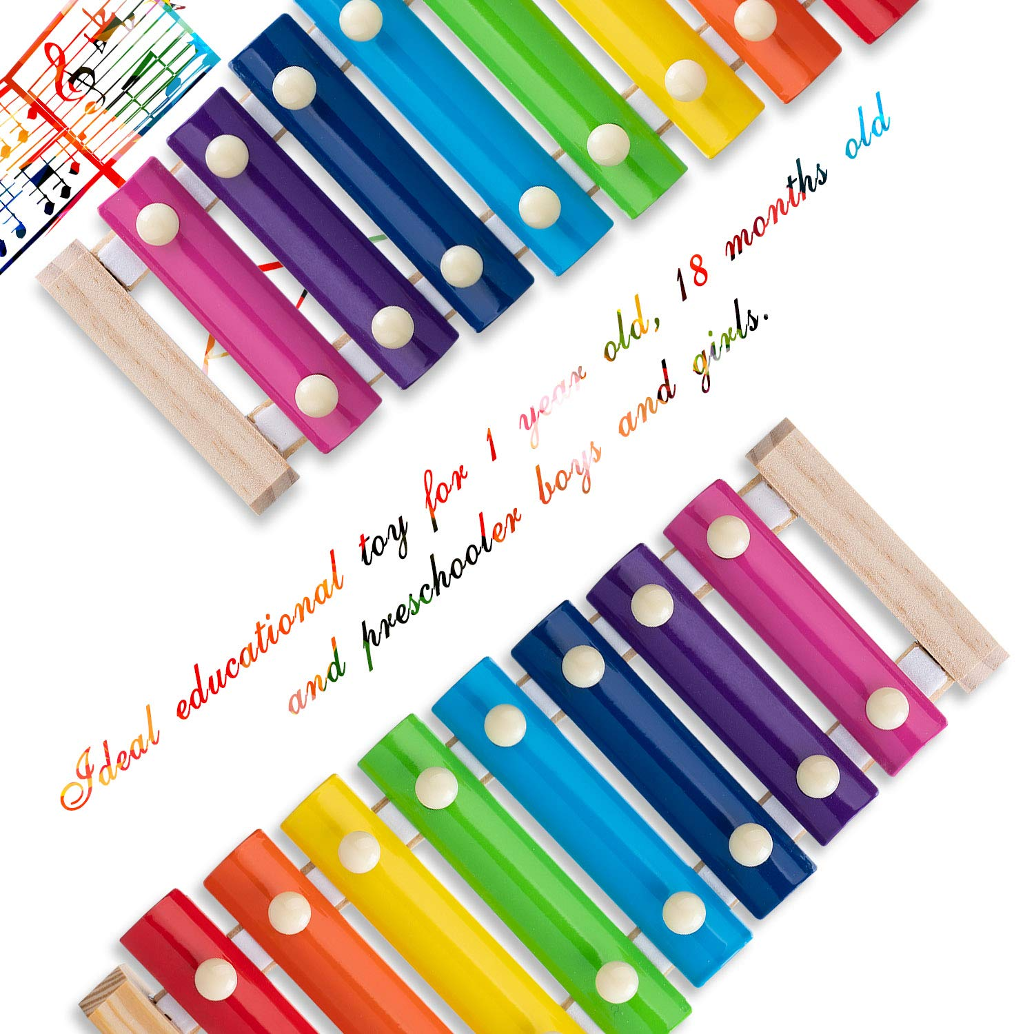 Xylophone for Kids Set Of Three Instrument Toys With Two Xylophone,One caterpillar toy-JiangChuan(2019 New Design),Best Birthday/Holiday Gift For Children's with Two Safe Mallets,Free Music socure by JiangChuan (Image #3)