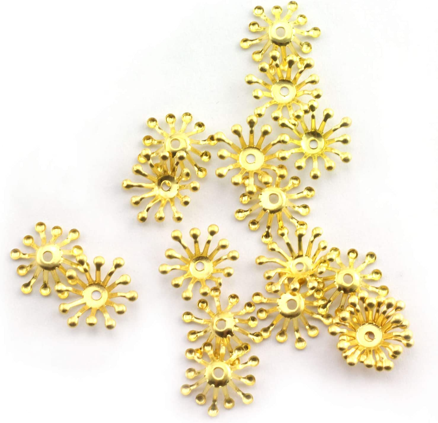 NX Garden Flower Bead Cap 100PCS Golden Cast Iron Hollow Cubic Flower Core for Crafting Jewelry Making Accessory Small Findings Metal Beads Fitting DIY Accessories
