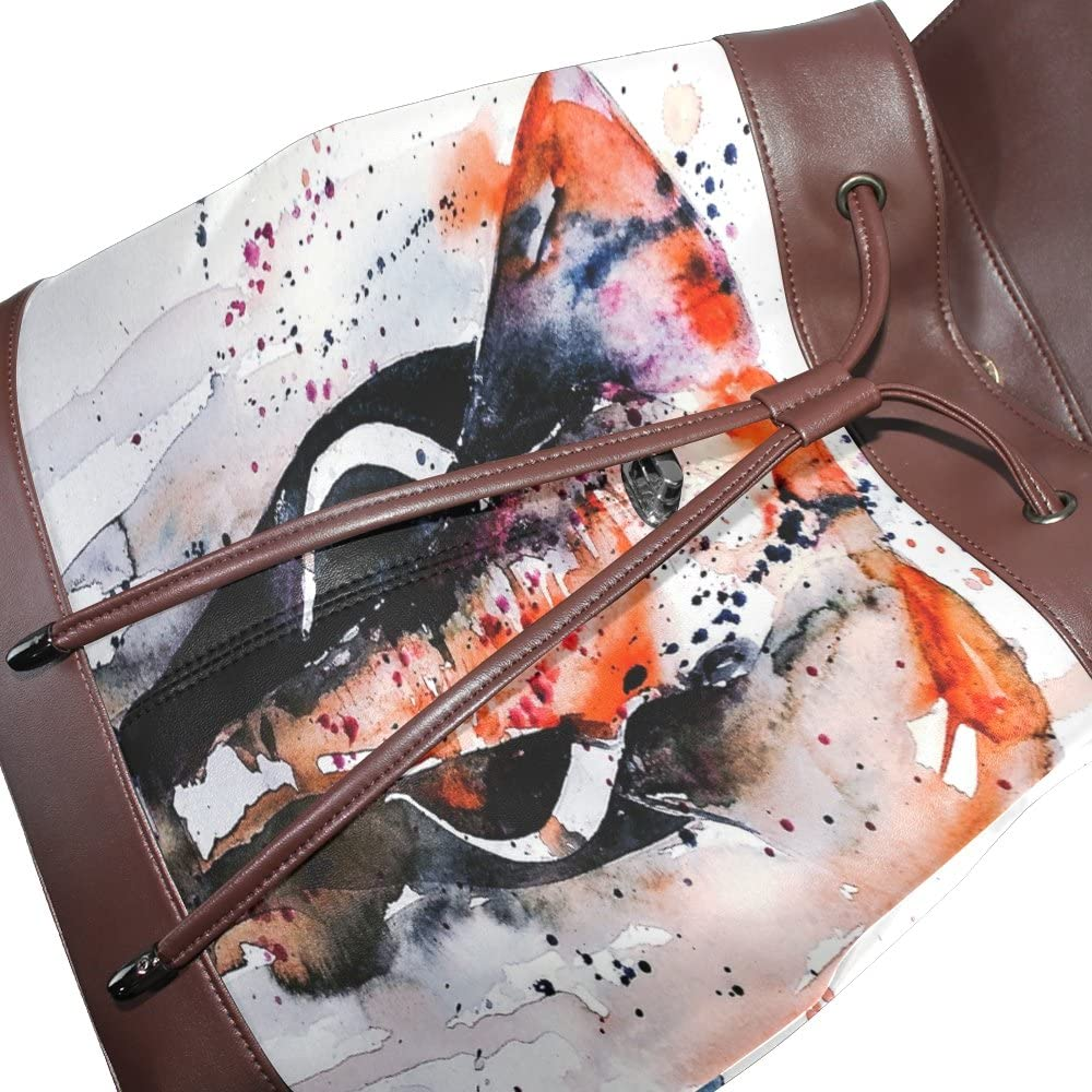 KUWT Watercolor Abstract Elephant PU Leather Backpack Animal Photo Custom Shoulder Bag School College Book Bag Rucksack Casual Daypacks for Women and Girl