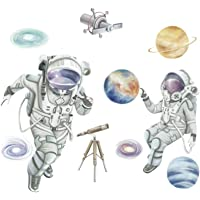 Space Planet Wall Sticker,3D Astronaut Outer Space Self-Adhesive Removable Break Through The Wall Vinyl Wall Stickers…
