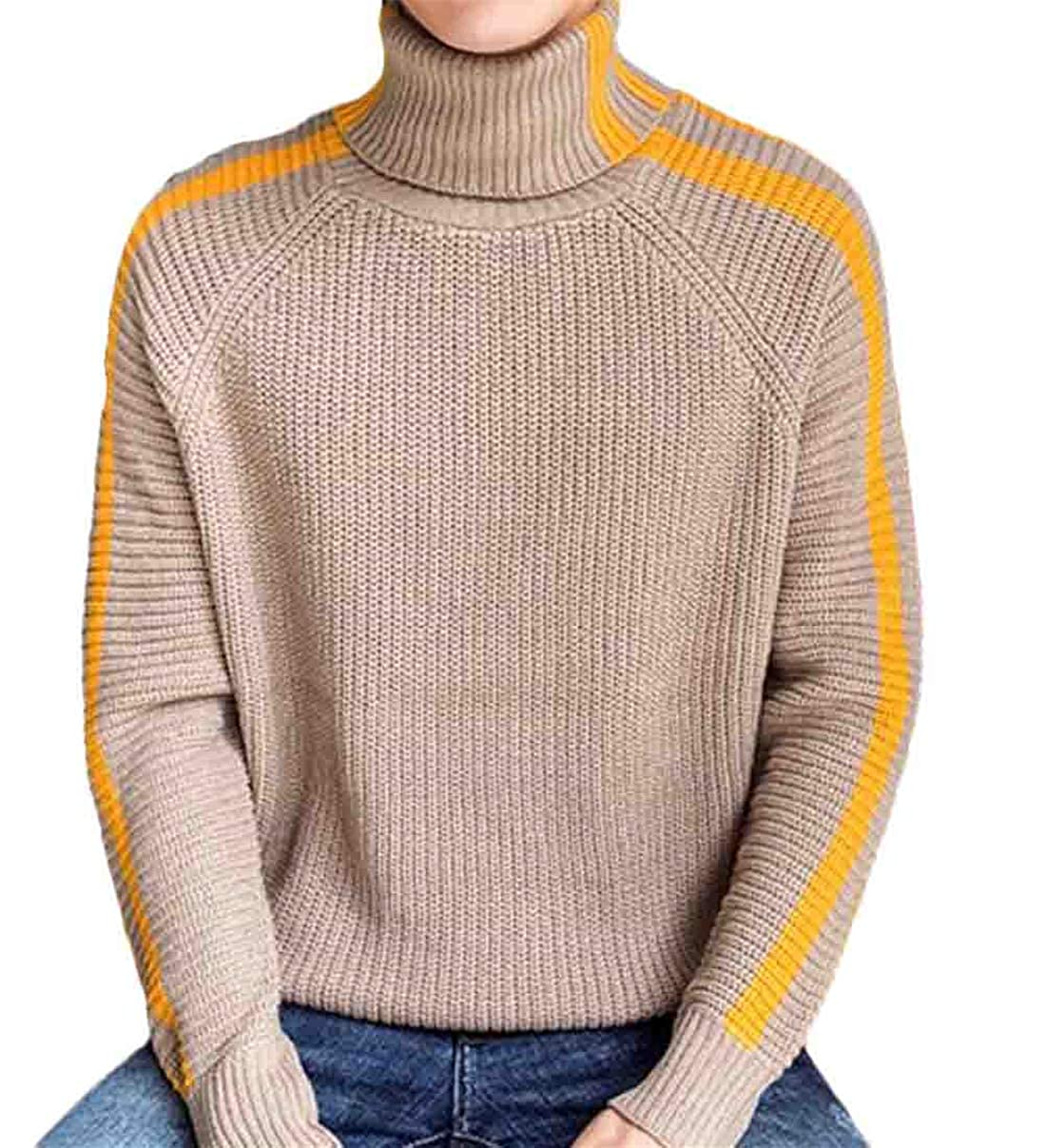 Spirio Mens Turtleneck Long Sleeve Thicken Pullover Knit Striped Winter Sweater Tops