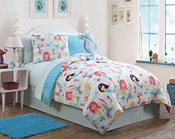 7 Pc Girls Mermaid, Twin Bedding, Comforter Set, By Karalai Bedding  Collection