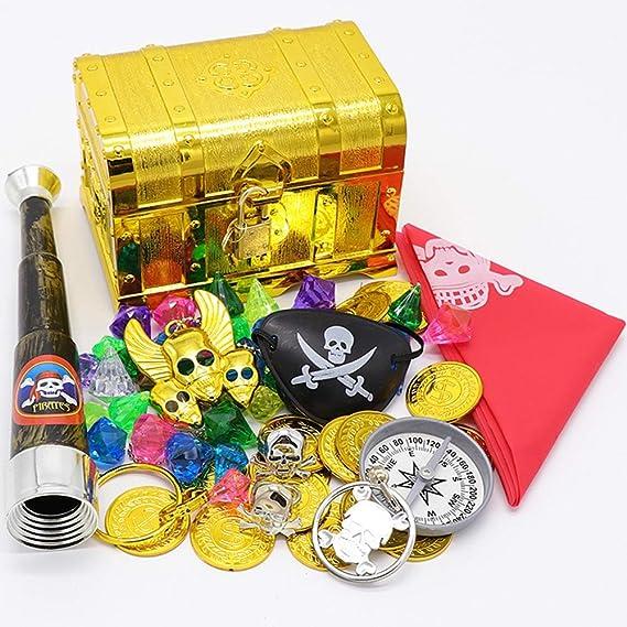 ALTINOVO Juguete de Caja de cofres del Tesoro Piratas, repleto de OROS, Piedras Preciosas y Joyas: Amazon.es: Hogar