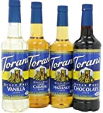 Torani Sugar Free Syrup Variety Pack for coffee, 25.4 Ounce (Pack of 4) one each of Sugar free: Vanilla, Caramel…