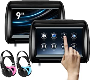 XTRONS 2 x 9 Inch Pair Car Headrest DVD Player HD Digital Adjustable Touch Screen 1080P Video Auto Games HDMI Children IR Headphones(Blue&Pink)