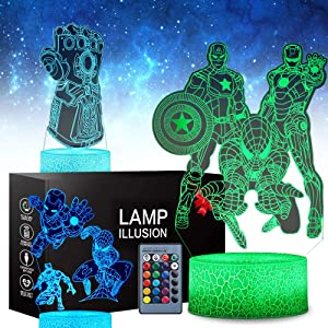 3 Pattern 16 Colors 3D Illusion Night Light Super Hero Lamps Birthday Xmas Festival Gifts for Boys Kids Room