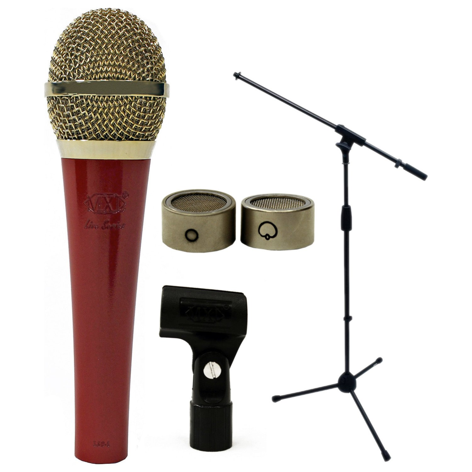 MXL LSC-1RG Live Series Red Body with Gold Grill Condenser Mic w/ Stand and Cable LSC-1RG BUNDLE