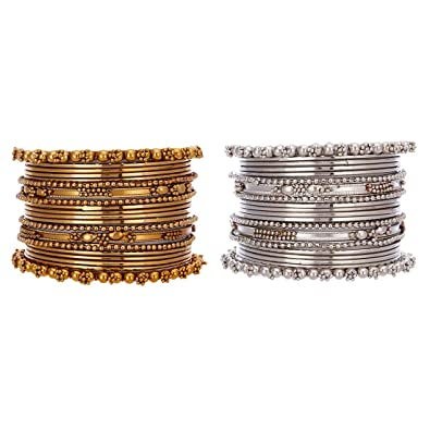 f6a367b30200c Zeneme Jewellery Traditional Silver Gold Plated Oxidized Bracelet Bangles  Set for Girls and Women  Amazon.in  Jewellery