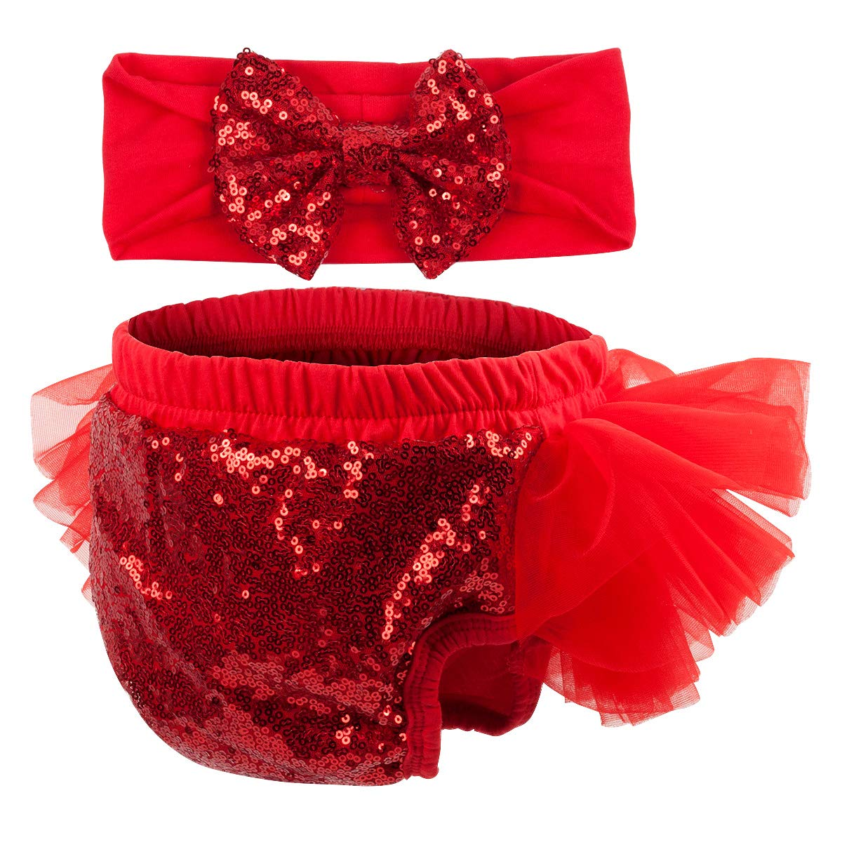 Slowera Baby Girls 2PCS Sets Cotton Tulle Sequins Diaper Cover Bloomers and Headband (Red, M: 6-12 Months)
