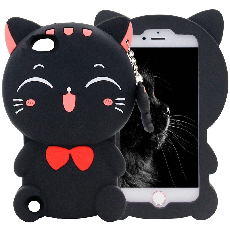 Liangxuer iPod Touch 6e 5e gé né ration Coque avec Protection d'é cran en Verre trempé , Silicone, 3D Black Cat, iPod Touch 6th 5th parent-ipod 5/6 case