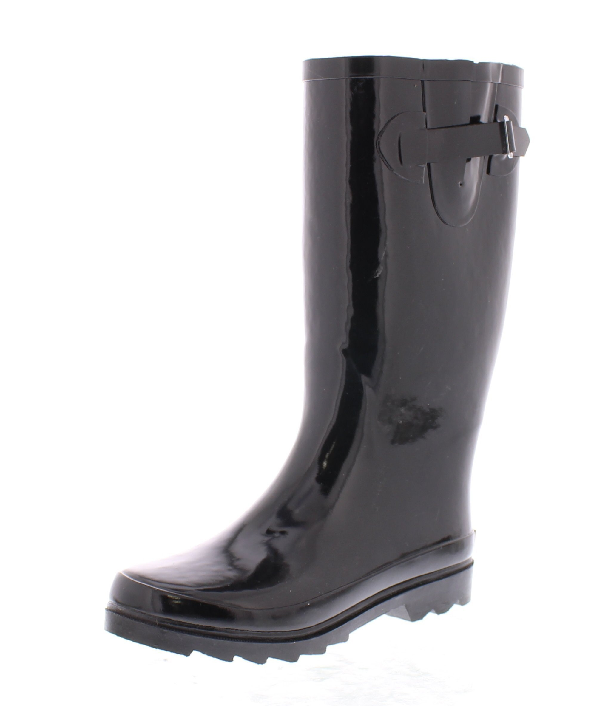 Marilyn Monroe Women's Basic Tall Buckle Rainboot Shoes, Waterproof Jelly Pull On Mid-Calf Welly Boots Black 10 US