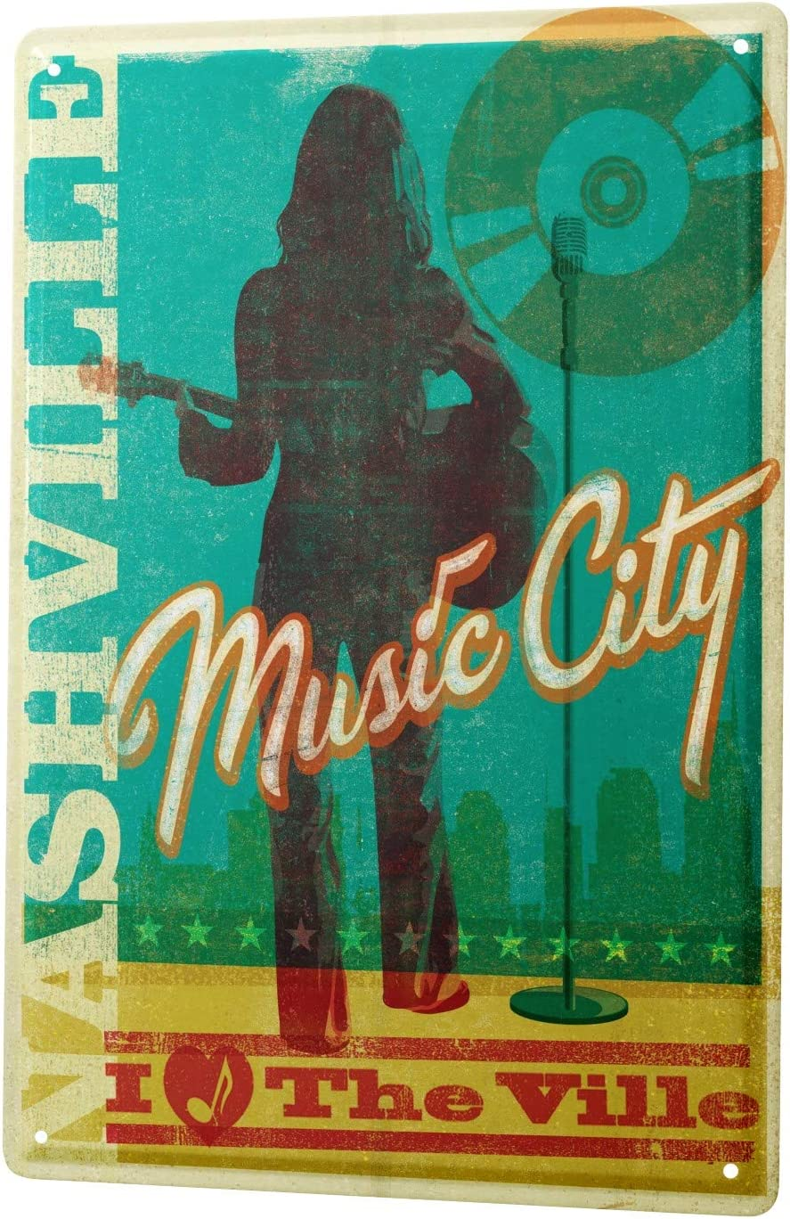 LEotiE SINCE 2004 Tin Sign Metal Plate Decorative Sign Home Decor Plaques 30 x 40 cm Kitchen Nashville Music