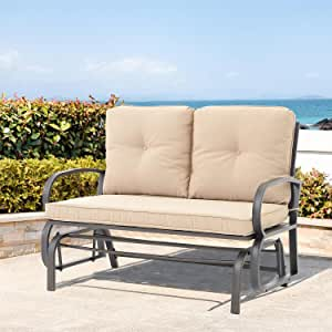 2 Person Glider Bench for Outside Patio Use, Garden Loveseat Seating Patio Steel Frame Chair Set with Cushion, Beige