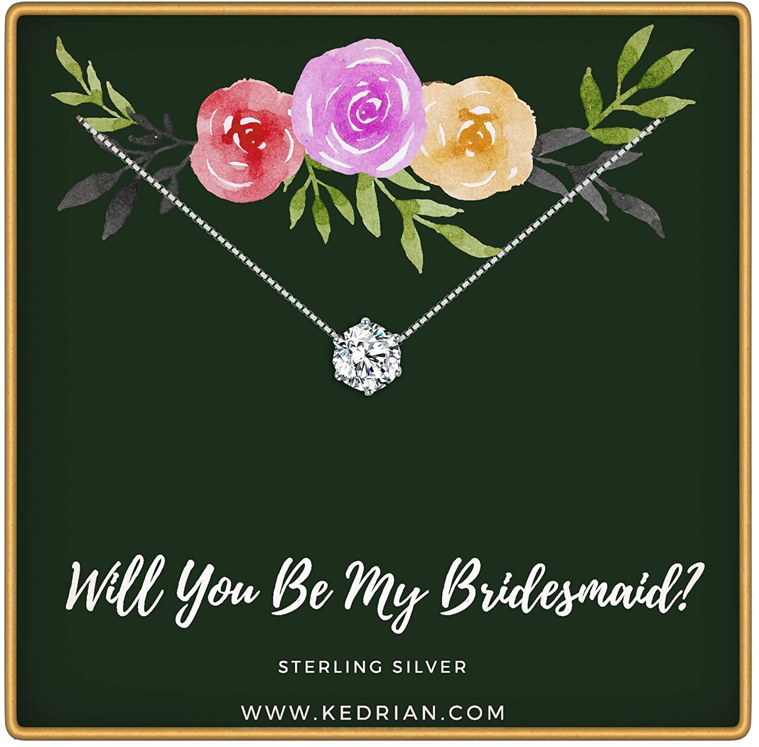 KEDRIAN Will You Be My Bridesmaid Necklace, 925 Sterling Silver, Maid of Honor Gift with Will You Be My Bridesmaid Card, Bridesmaid Necklace