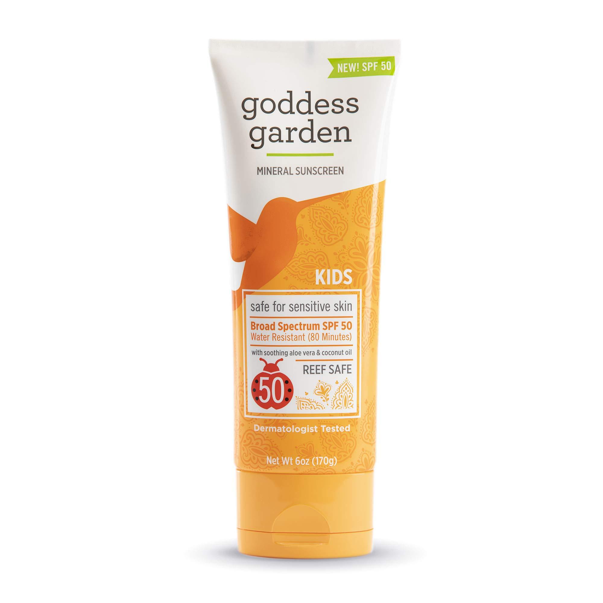Goddess Garden Kids SPF 50 Mineral Sunscreen Lotion for Sensitive Skin (Tube), Reef Safe, Sheer Zinc Oxide, Broad Spectrum, Water Resistant, Non-Nano, Vegan, Leaping Bunny certified Cruelty-Free, 6oz.