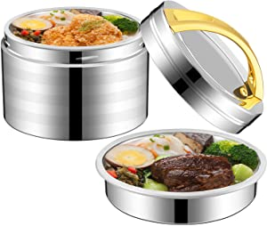 Insulated Lunch Container for Hot Food 2 Tier Thermal Insulated Lunch Thermos Wide Mouth 18/8 Stainless Steel Vacuum Insulation Food Jar 37oz