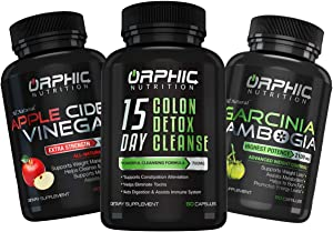 Colon Cleanser Detox, Apple Cider Vinegar & Garcinia Cambogia Extract (60+60+90) - Appetite Suppressant with Carb Assistance - Constipation Relief, Intestinal Cleansing & Detoxification