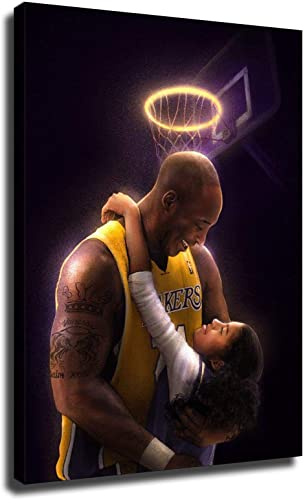 kobe bryant and gigi poster Picture Canvas Wall Art Bedroom Basketball Player Sports Painting Print Framed