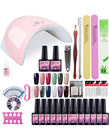 Saint-Acior 36W UV/LED Lámpara 12PCS Esmalte Semipermanente Gel Uñas 8ml Primer Uñas