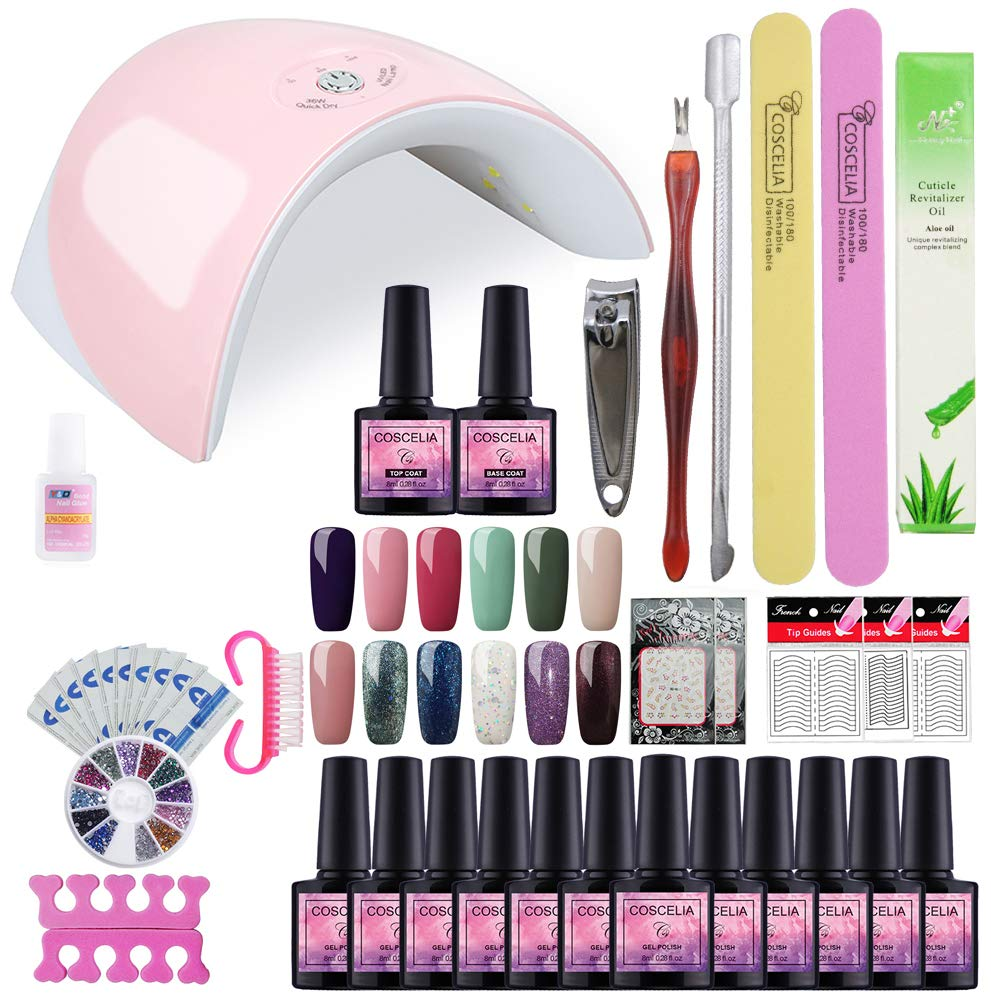 Saint-Acior 36W UV/LED Lámpara 12PCS Esmalte Semipermanente Gel Uñas 8ml Primer Uñas Top Coat Nail Art: Amazon.es: Belleza