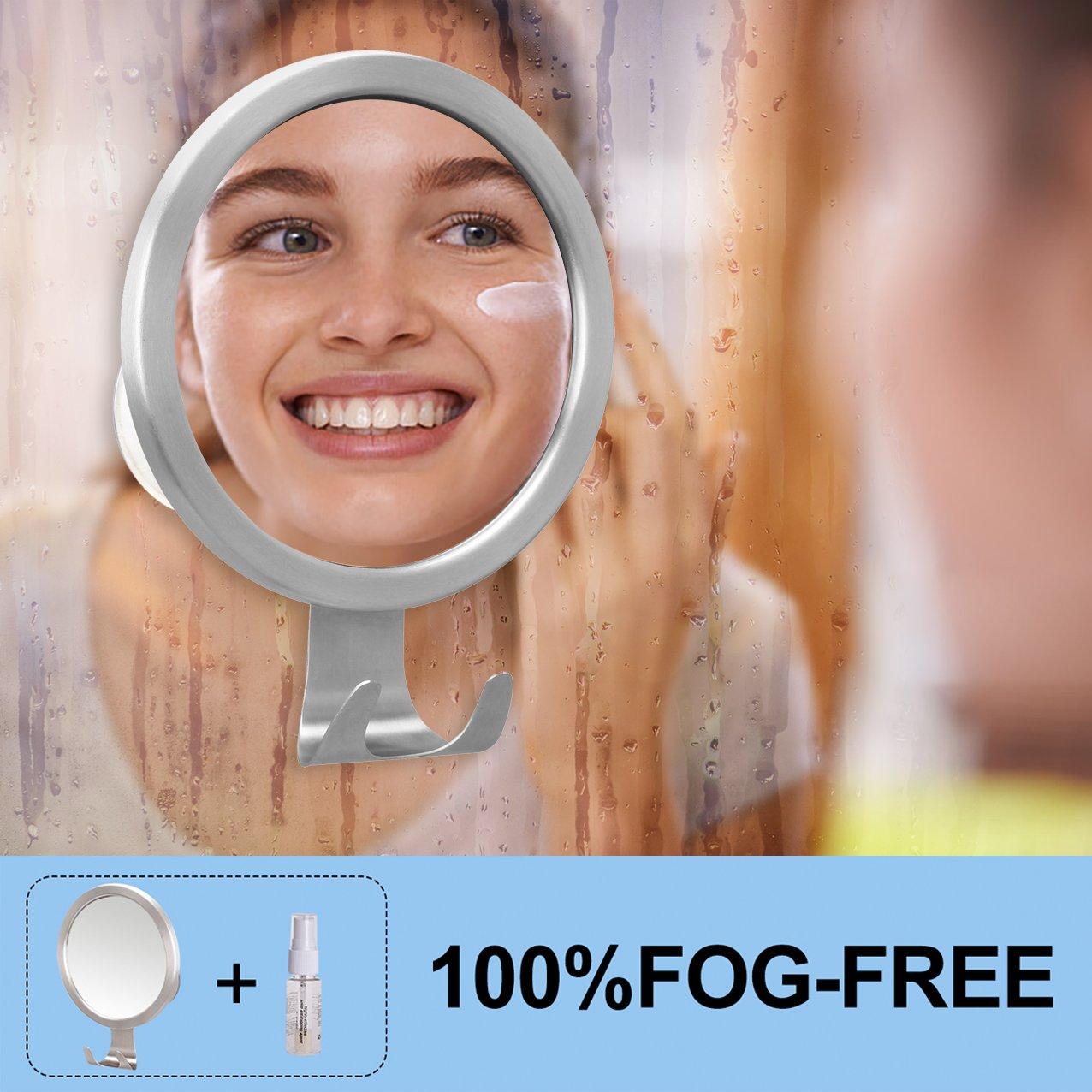 Quntis Specchio da Doccia Antiappannamento con Gancio a Ventosa Specchio Anti-Appannamento a Apecchio Rotondo//Trucco per Bagno Cornice Argento