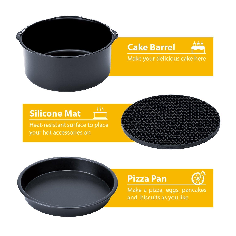 5.8QT Silicone Mat Supporto Metallico Pizza Pan Rack Multiuso Con Spiedini Friggitrici Accessori Gowise Phillips E Cozyna Applicabile Tutti 3.2QT Compreso Cake Keg 5.3QT Set Di 5