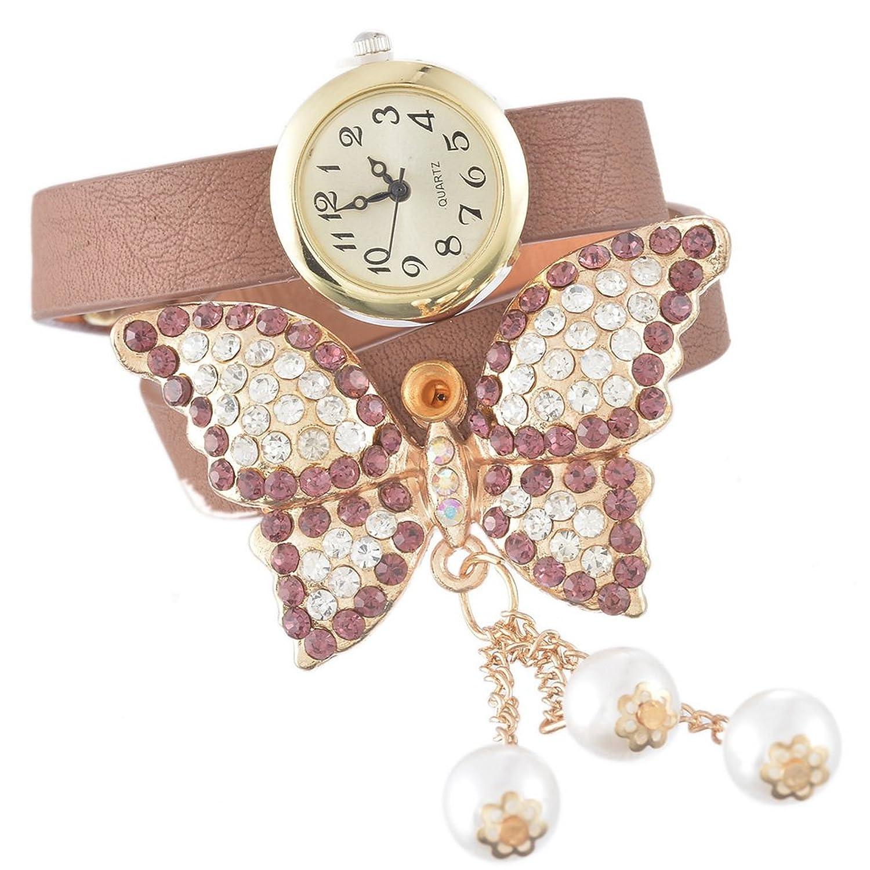 Souarts Damen Schmetterling Perlen Armbanduhr Jugendliche Maedchen Armreif Uhr mit Batterie Zifferblatt Kaffee