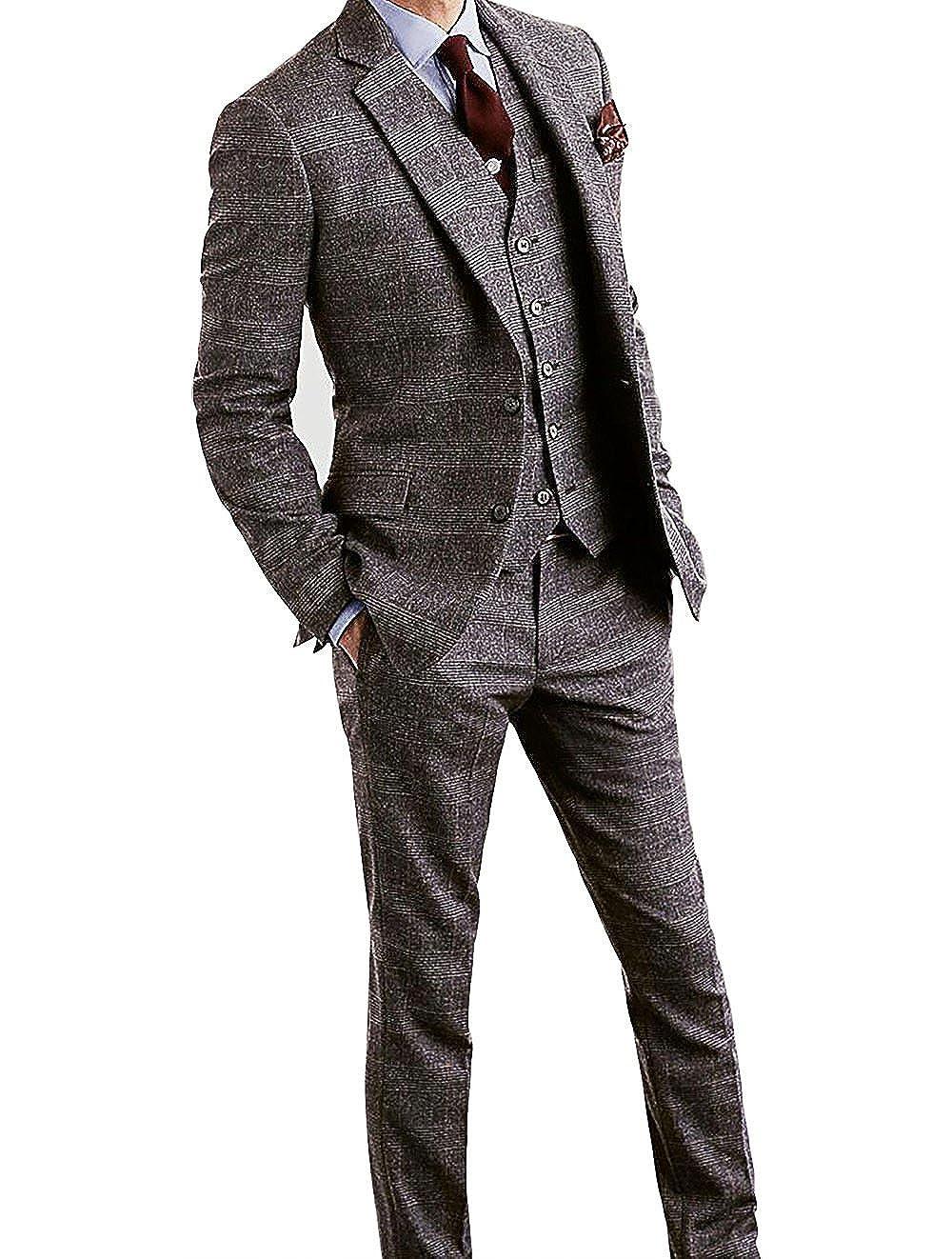Mens Houndstooth Tweed Wool Blend Grey Grid Plaid Check Tuxedos Groom Slim Fit Formal Vintage 3 Pieces Suit