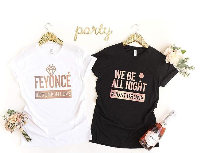 56dc8479d Amazon.com: Bachelorette Party Shirt, Custom Bride Bridesmaid Shirt, Wedding  Party, Feyonce Drunk In Love: Handmade