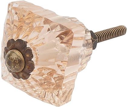 Cut Glass Door Handle Cabinet Puller Vintage Antique Style Brass Crystal Pink