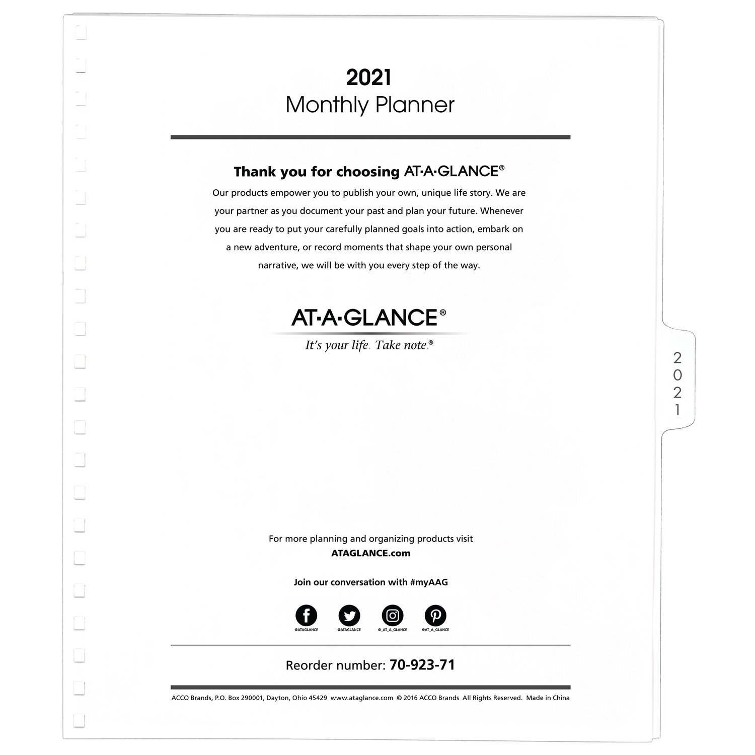 AT-A-GLANCE 2021 Monthly Planner Refill, for Planners 70-236 or 70-296, 9'' x 11'', Large, White (7092371)