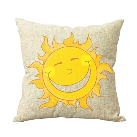 Amazon.com: Dibujos animados Sol Amarillo Throw almohada ...