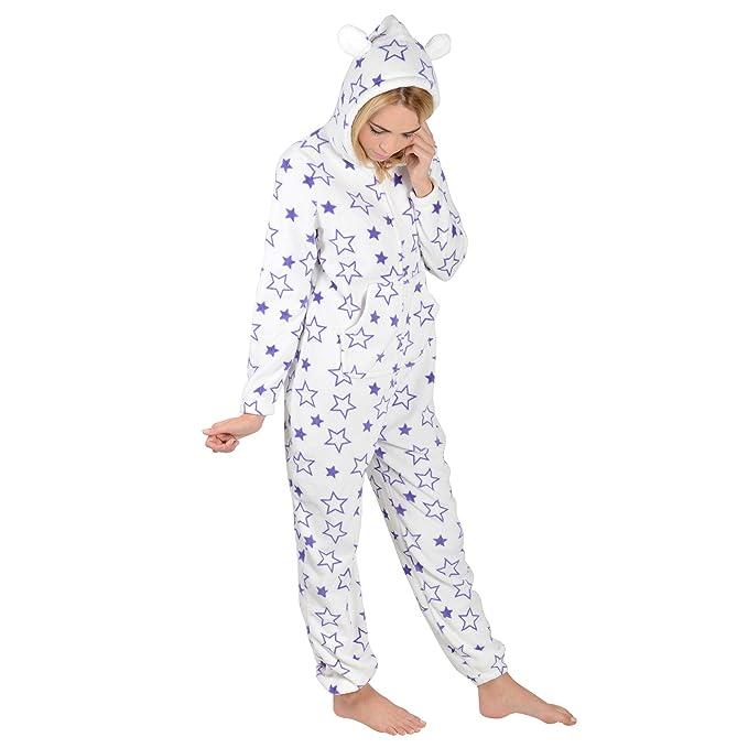 new arrival e1583 5e974 Autumn Faith Lila Sterne Damen Fleece Einteiler Pyjama Schlafanzug Onesie  PJ Nachtwäsche - XL
