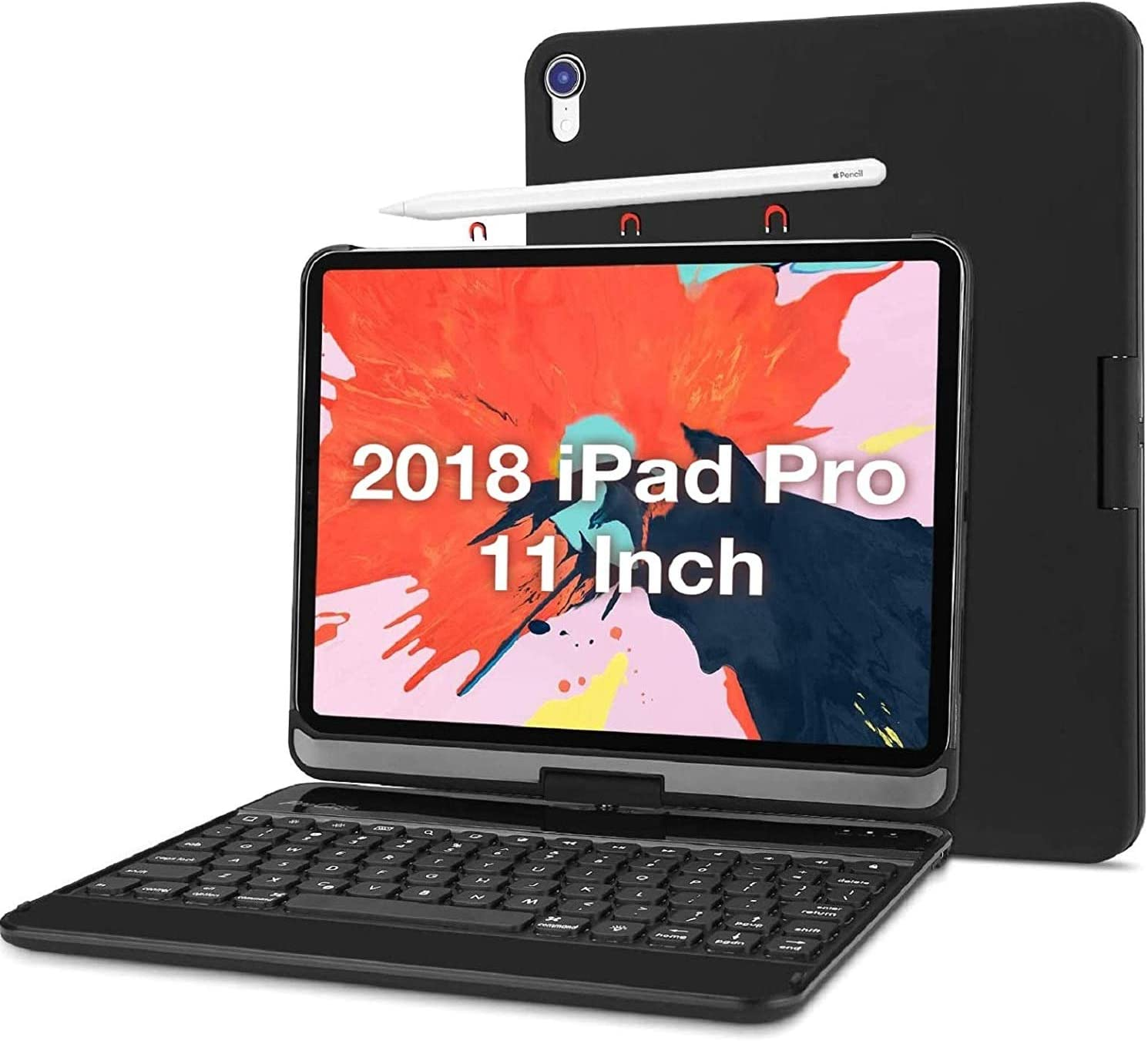 ProCase iPad Pro 11 Keyboard Case 2018 [Old Model] [Support Apple Pencil Charging], 360 Degree Rotation Swivel Cover Case with Wireless Keyboard for Apple iPad Pro 11 Inch 2018 Release -Black
