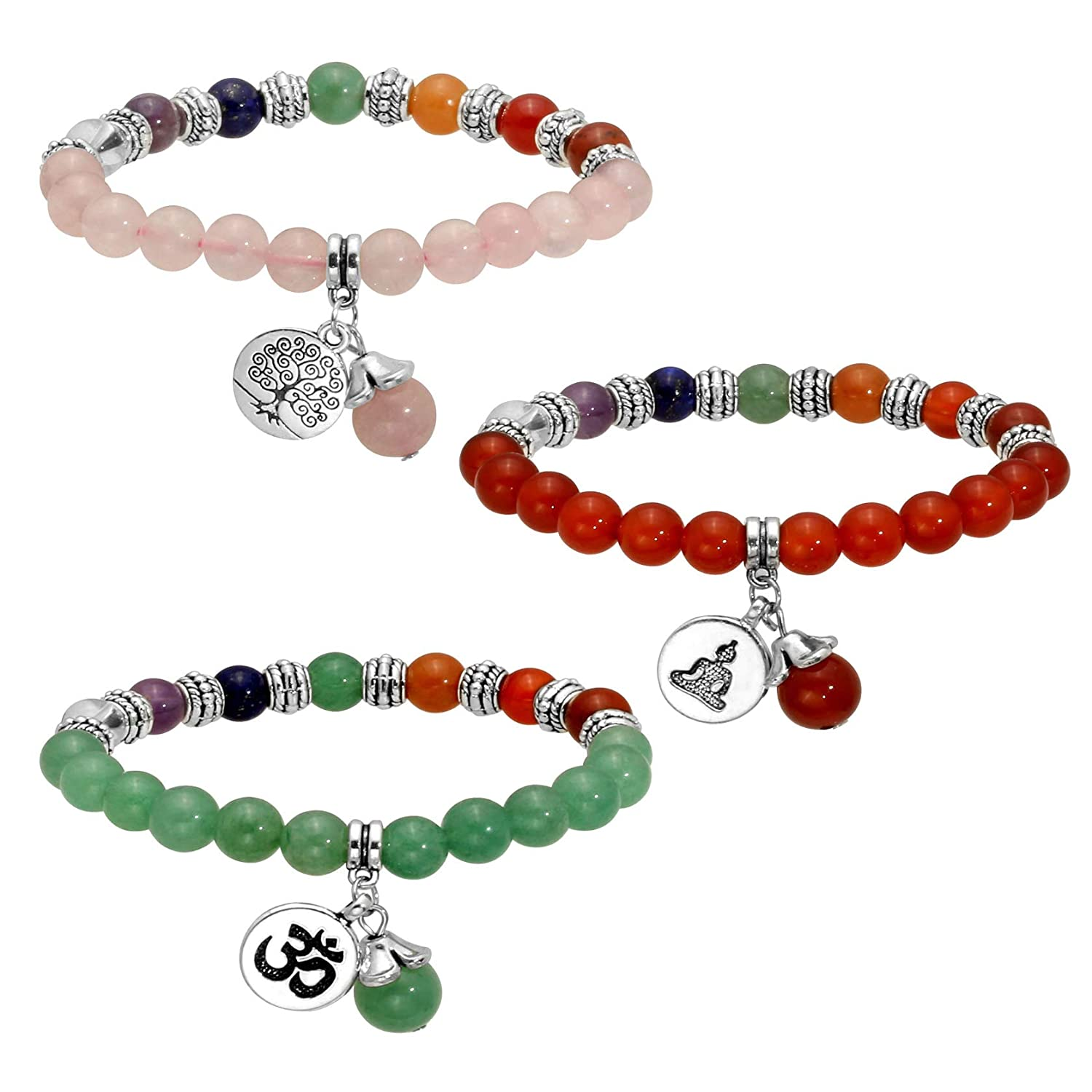 MILAKOO 7 Chakra Beads Bracelet with Tree of Life//Lotus//OM Symbol Yoga Meditation Healing Bracelet