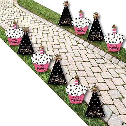 Amazon.com: Chic Feliz cumpleaños – rosa, negro y ...