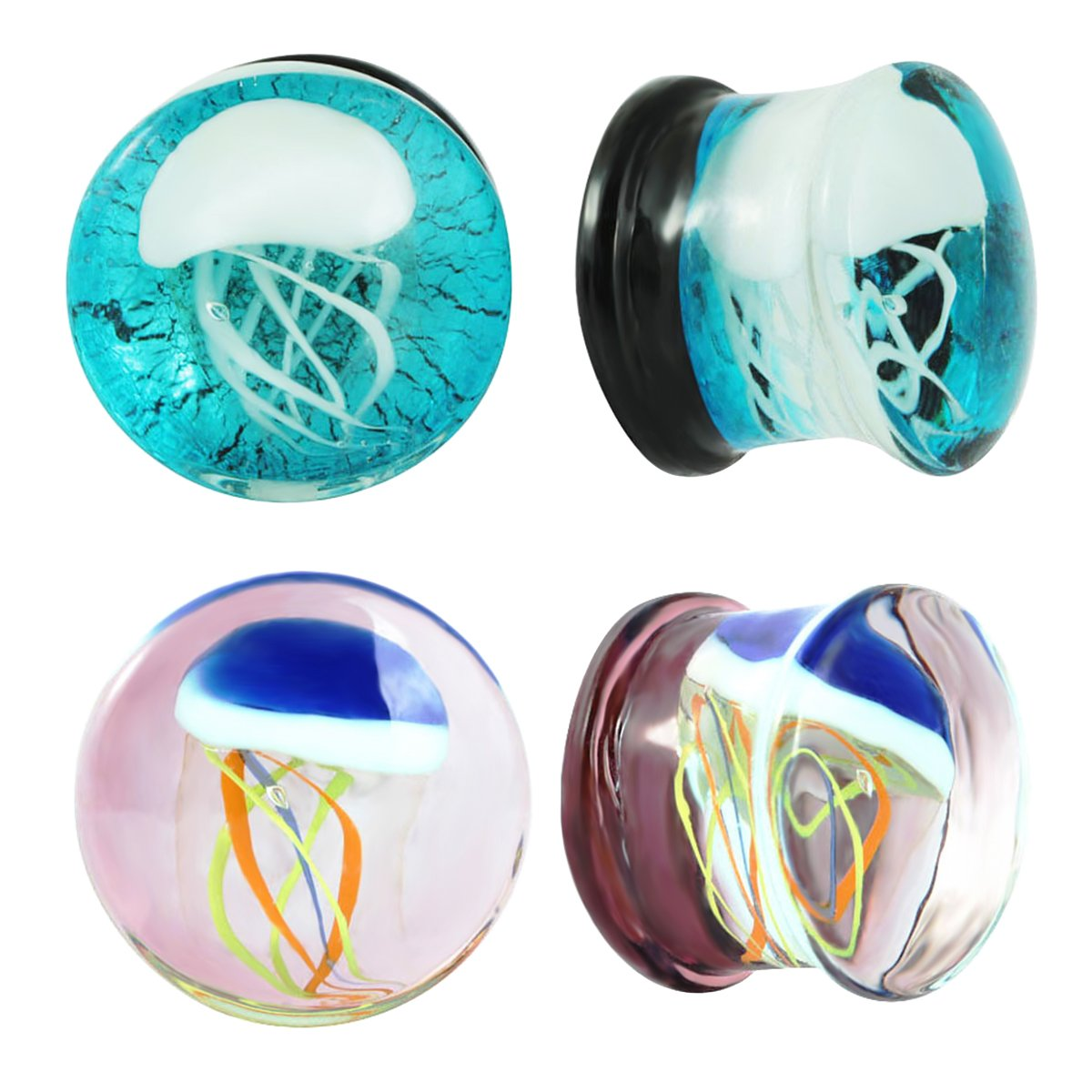 IPINK-New Glass Ocean Jellyfish Style Ear Stretcher Plug Gauges 2 Pairs
