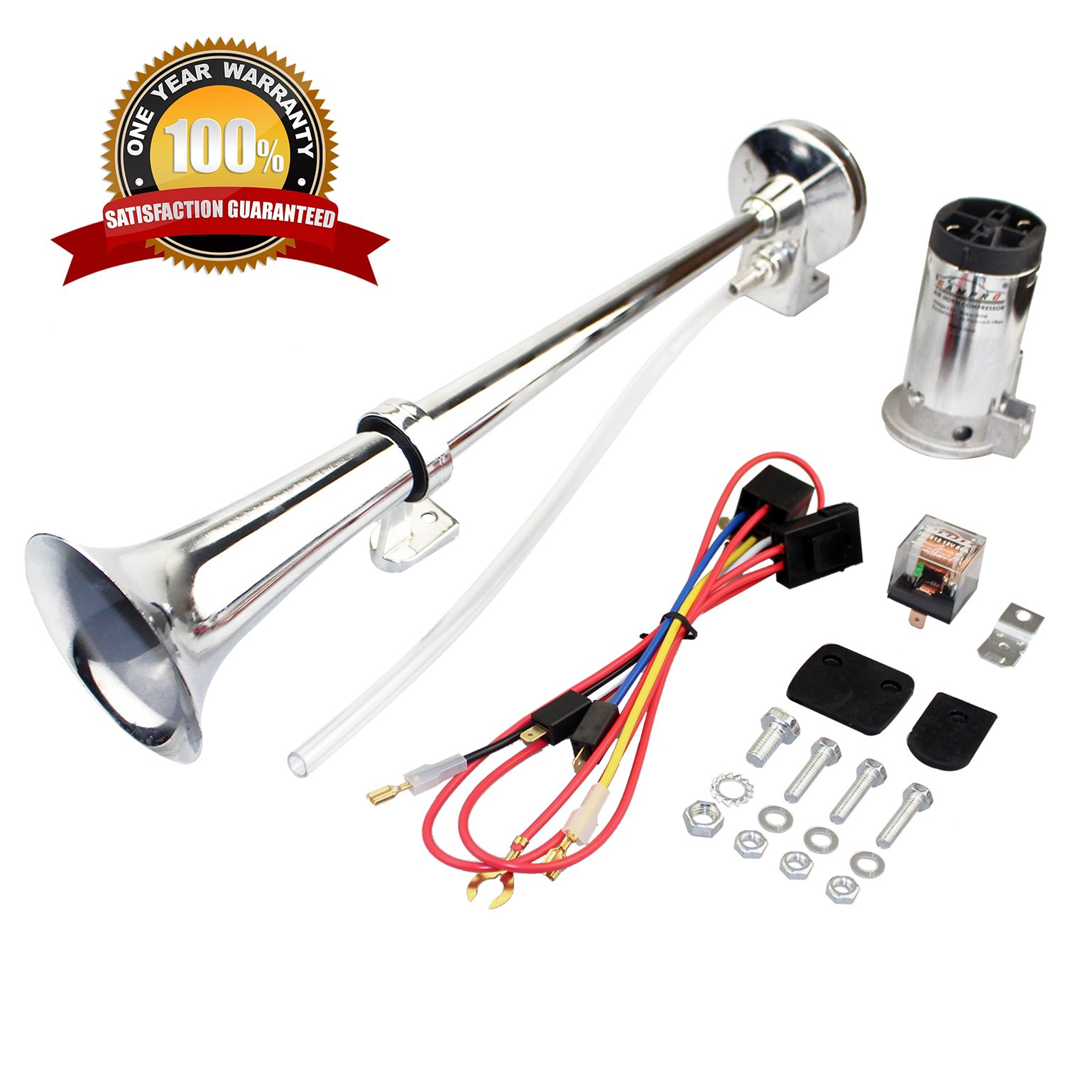 GAMPRO 12V 150db Air Horn, 18 Inches Chrome Zinc Single Trumpet Truck Air Horn with Compressor for Any 12V Vehicles Trucks Lorrys Trains Boats Cars